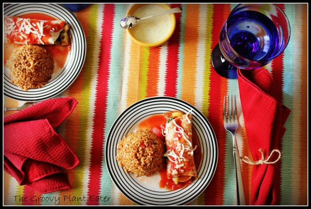 Caramelized Onion & Squash Enchilada with Red Chile Rice